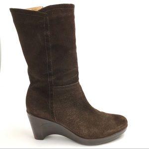 Bass Brown Suede Jayce Mid Calf Wedge Heel Boots 9